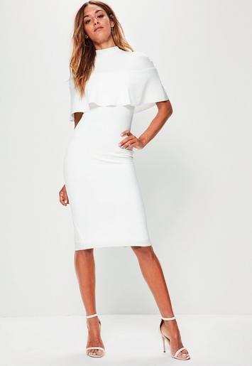 baa053baa8e White Frill Overlay Shoulder Midi Dress | Dresses | White midi dress ...