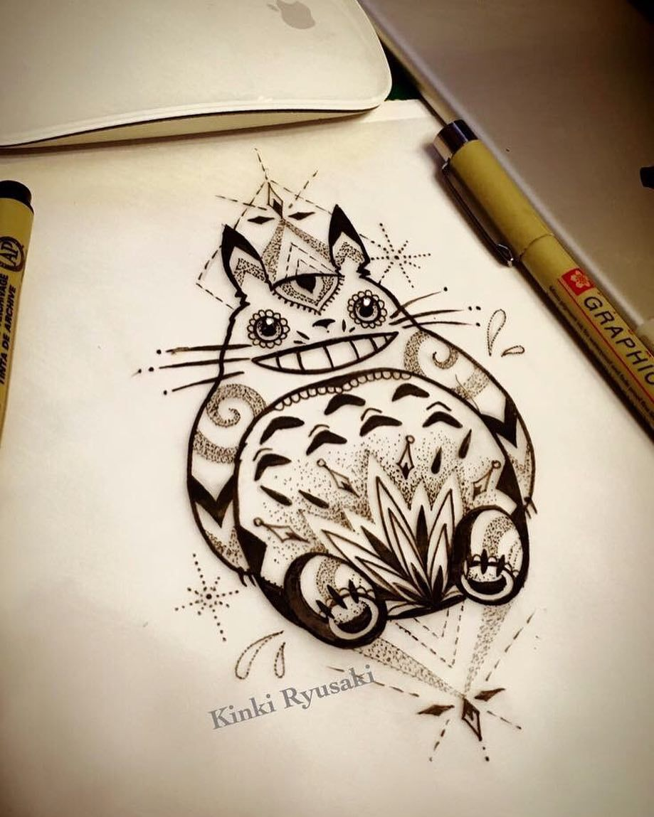 totoro tattoo bookings kinkiryusakistudio kinkiryusaki totoro sketch inkspiration. Black Bedroom Furniture Sets. Home Design Ideas