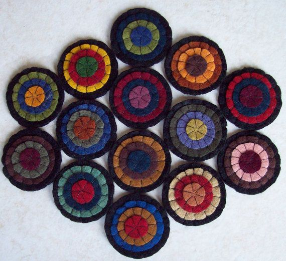 Primitive HandMade Penny Rug Mat Primitive Folk Art Trivet Wool ...