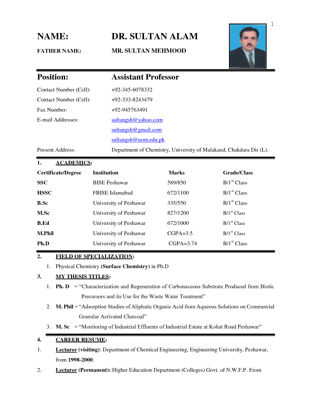 biodata resume format - Format For Resume For Job