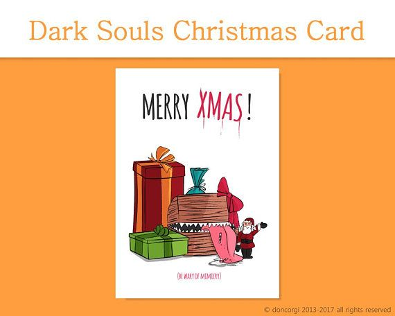 dark souls card merry christmas card xmas printable card by don corgi on etsy perfect card to give to your gamer friends instantly download and print at - Merry Christmas Cards Printable