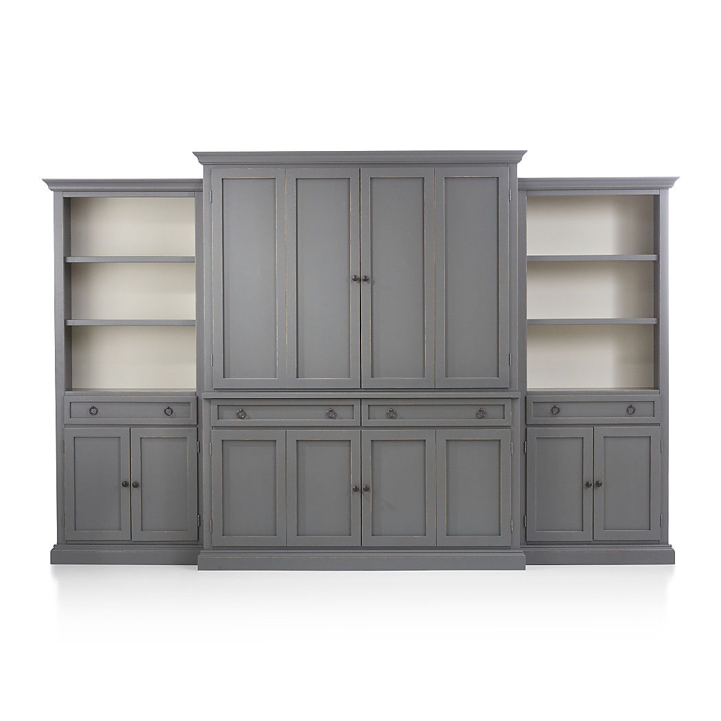 Shop cameo 4 piece grey storage bookcase entertainment center modular furniturewhite