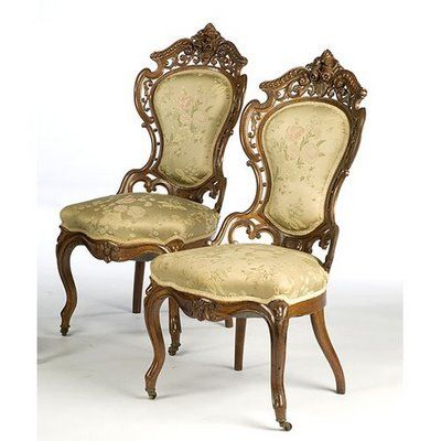 Pair of Victorian chairs - champagne