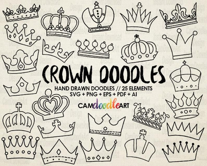 25 Doodle Crowns Vector Pack Hand Drawn Doodle Clipart Hand Drawn Crowns Sketch Drawing Vector Eps Pdf Png Ai File How To Draw Hands Crown Drawing Doodles