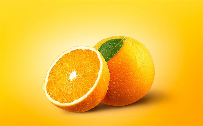 Download wallpapers oranges, 4k, fresh fruit, citruses
