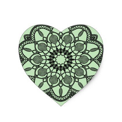 Heart Mandala Stickers - wedding stickers unique design cool sticker gift idea marriage party
