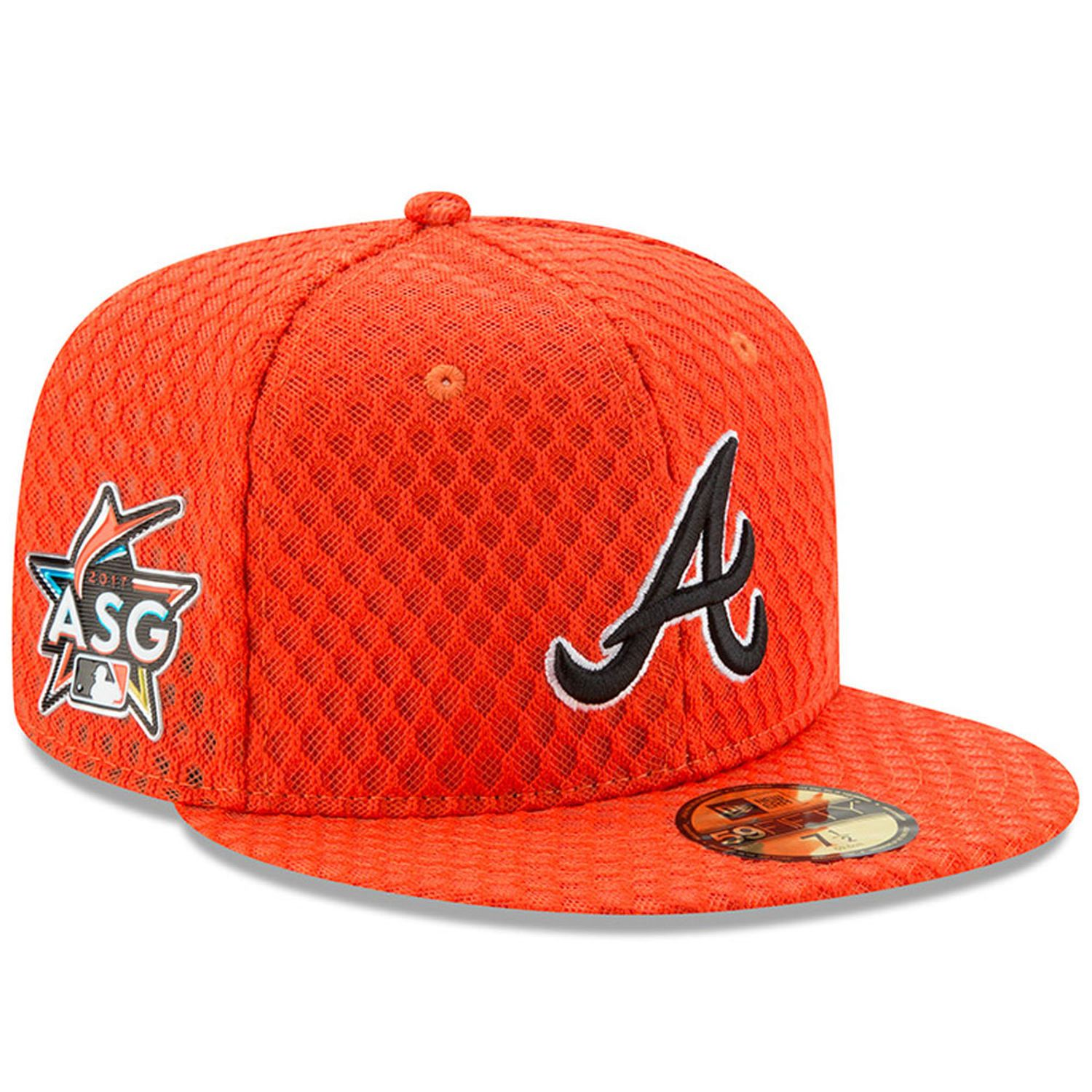 Men S Atlanta Braves New Era Orange 2017 Home Run Derby Side Patch 59fifty Fitted Hat Atlanta Braves Fitted Hats Homerun