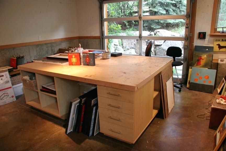 Artist Table With Storage Leaving Boulder Blog Regarding Artist Studio Tables Idea Artist Work Table With St Art Studio At Home Studio Table Art Studio Storage