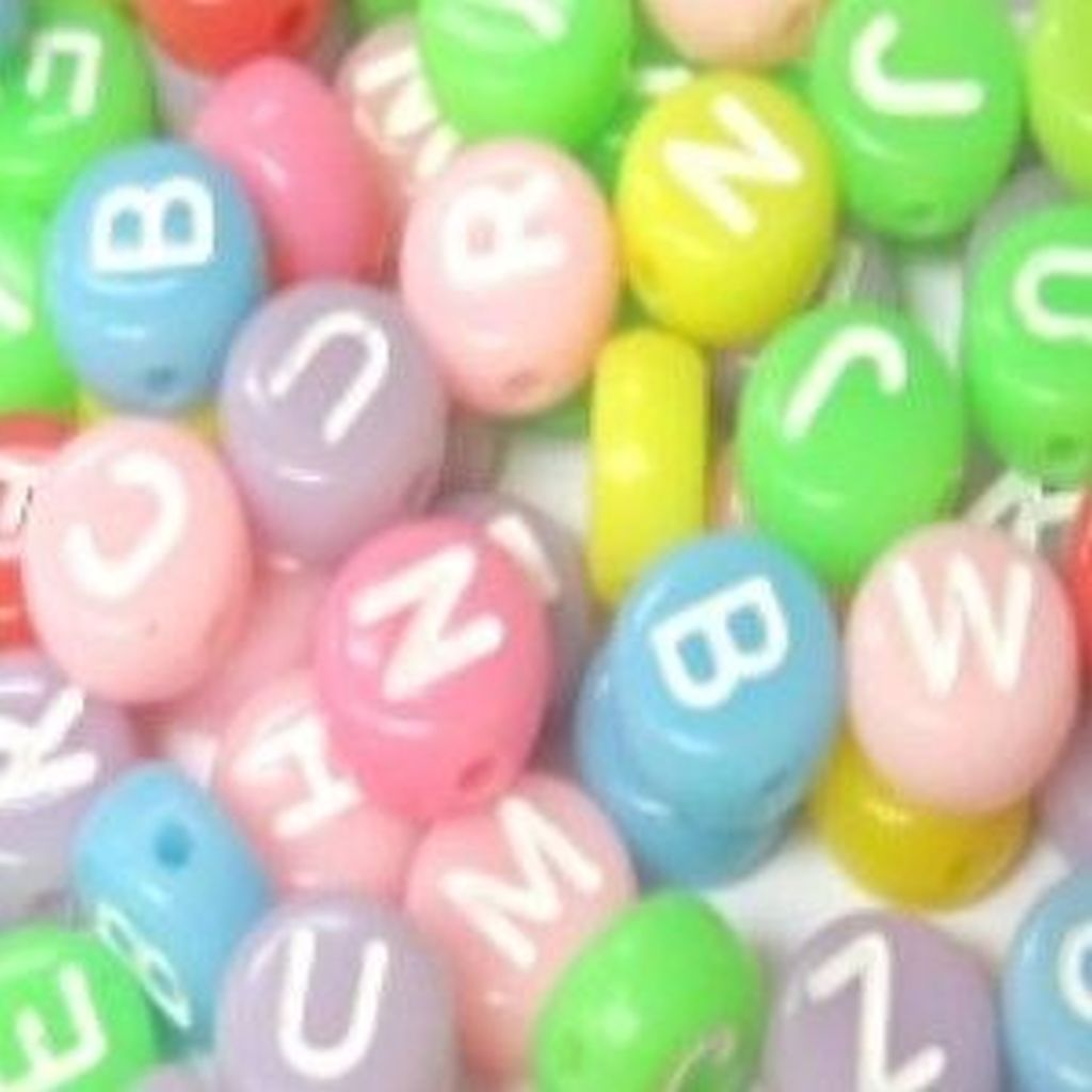 100 Pcs 6.5mm Opaque Colorful Flat Round Alphabet Letter Beads ...