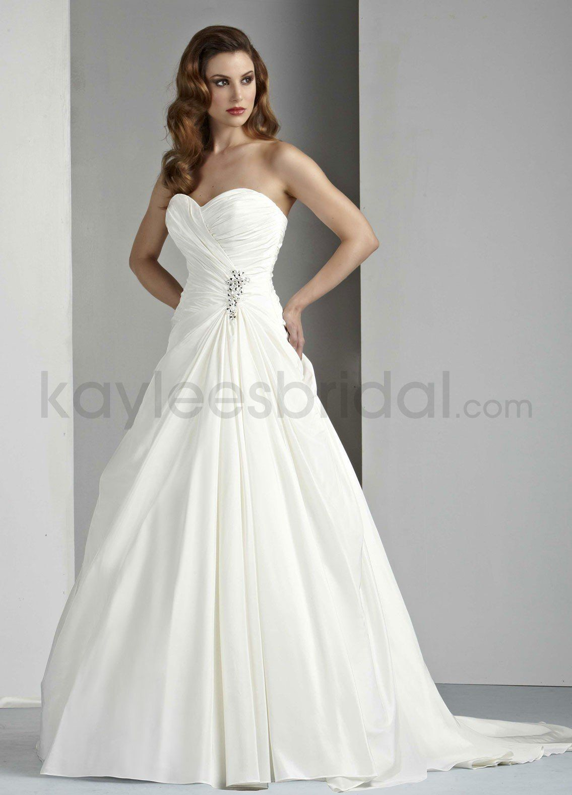 Kaylees Bridal Taffeta A Line Strapless Sweetheart Neckline Gathered Bodice Wedding Dress