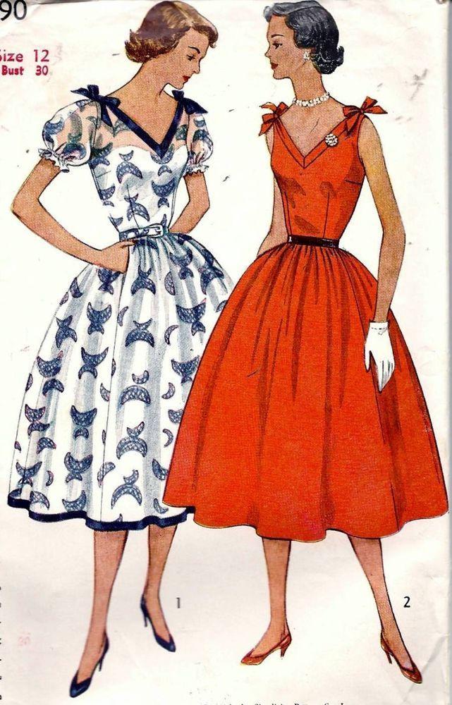Vintage 50s Dress Bow Tie Straps Sewing Pattern 3890 B30