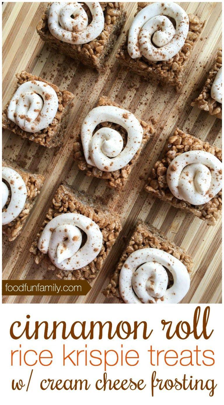 Cinnamon Roll Rice Crispy Treats Recipe- Amazing!!! #crispytreats
