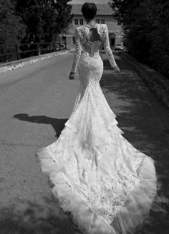 Fresh Sexy Open back Lace Wedding Dress with Long Sleeves for Victoria TulleandChantilly