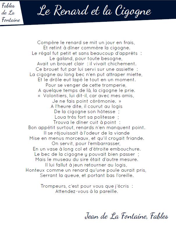 Fables Pdf Le Renard Et La Cigogne Rallye Lecture En Ligne