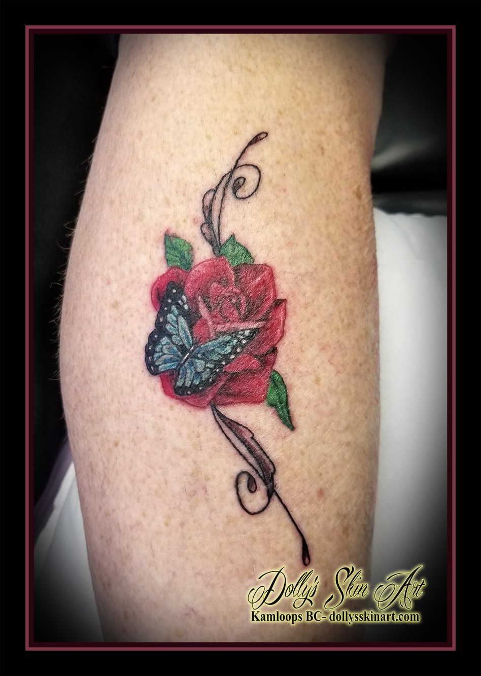 Butterfly on a rose for Melanie in 2020 Color tattoo
