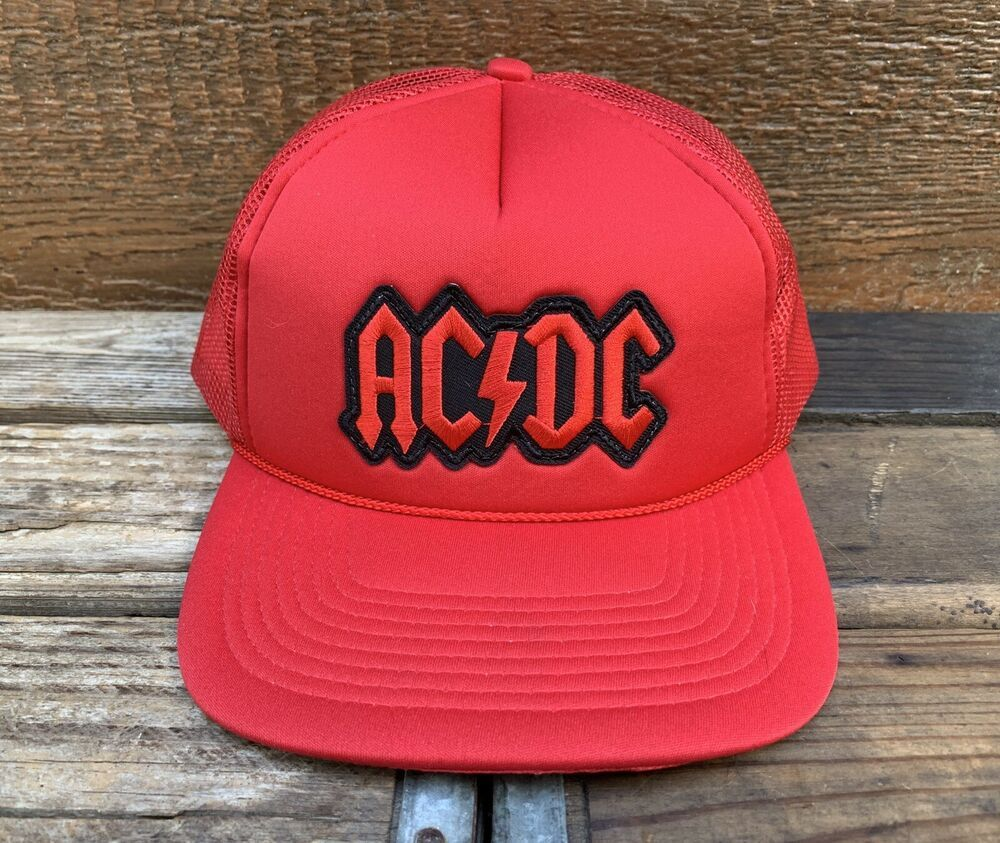 a45b0c962 AC/DC Vintage 80s Deadstock Red Classic Rock Concert Snapback ...