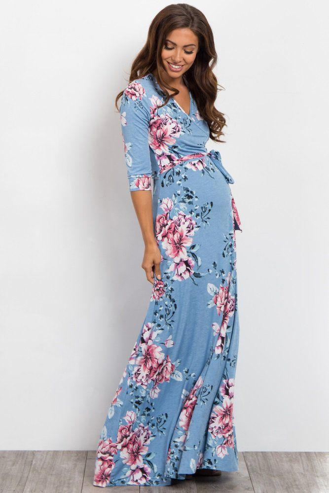 2fef8efaa373c Blue Floral Sash Tie Wrap Maxi Dress: Maternity and Nursing Spring 2018