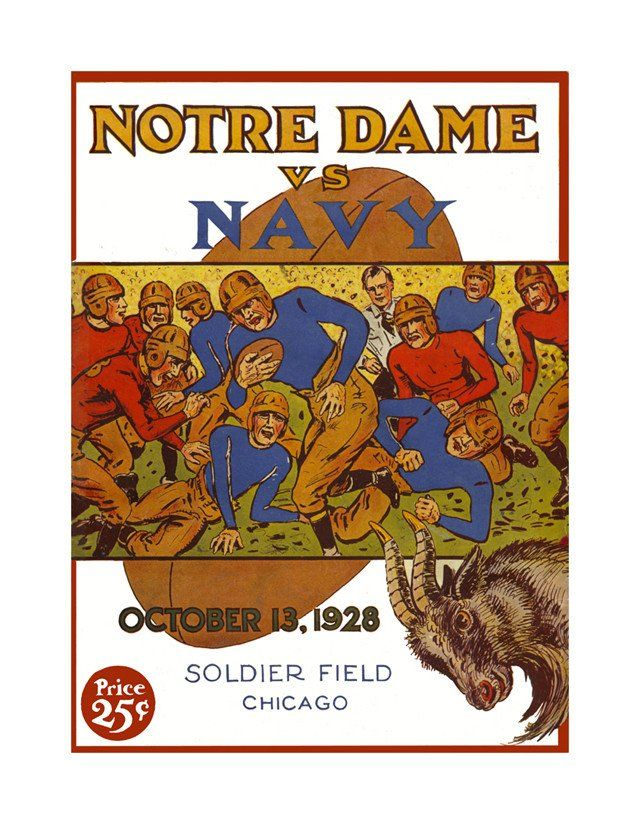 1928 Notre Dame Fighting Irish Vs Navy Midshipmen 36 X 48 Canvas