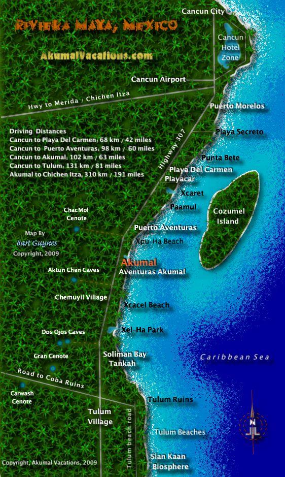 Riviera Maya Map, Cancun, Akumal, Tankah, Tulum, Mexico | Trip ...