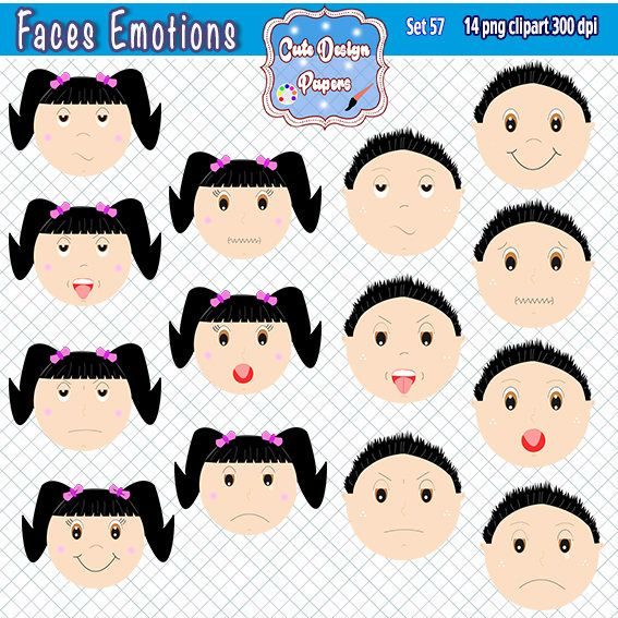 Faces emotions clipart, kids feelings, clipart emotions, boy, girl ...