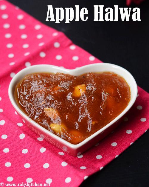 Apple halwa recipe, Without milk - Raks Kitchen | Indian Vegetarian recipes