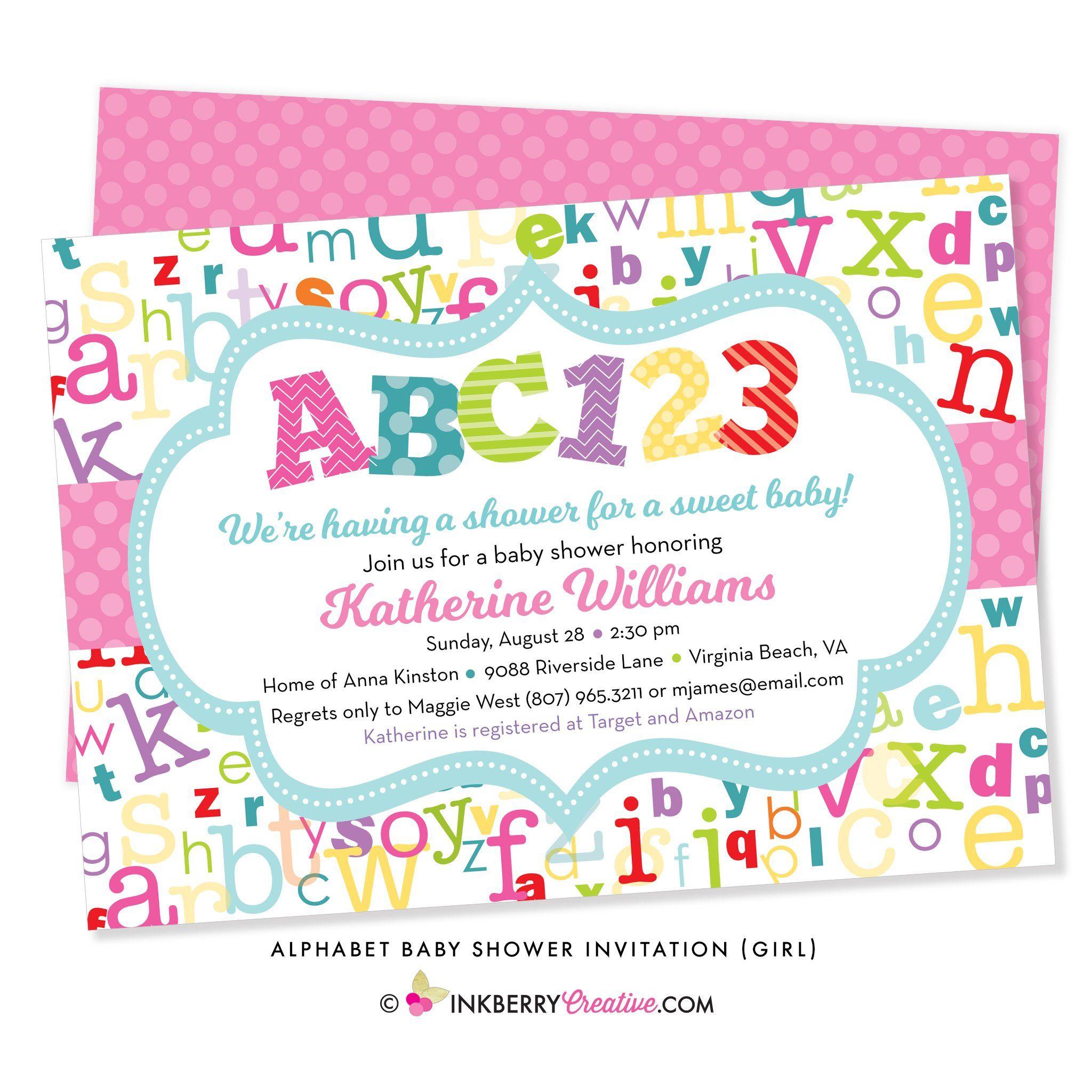 Alphabet Abc Baby Shower Invitation Girl