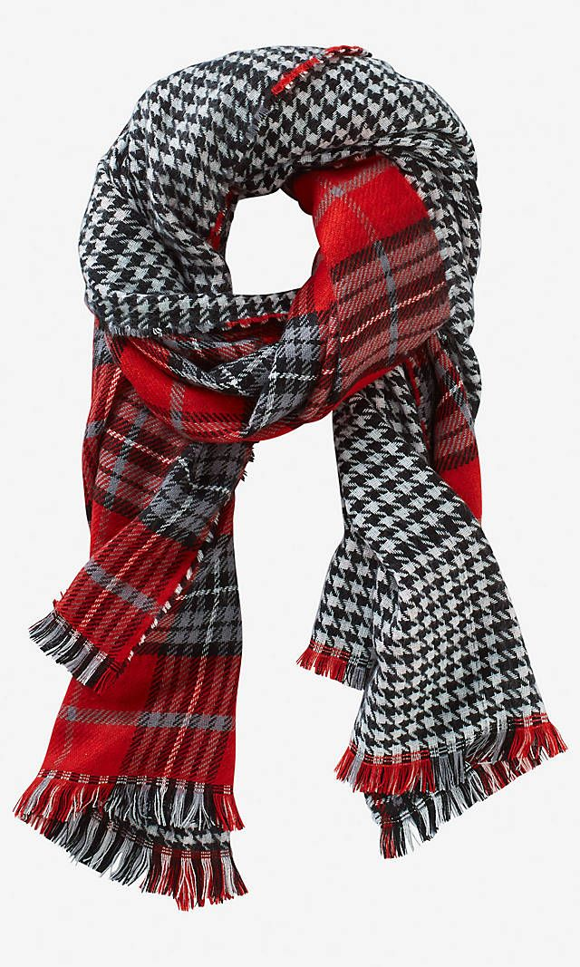8d947b292a17 HOUNDSTOOTH PLAID BLANKET SCARF