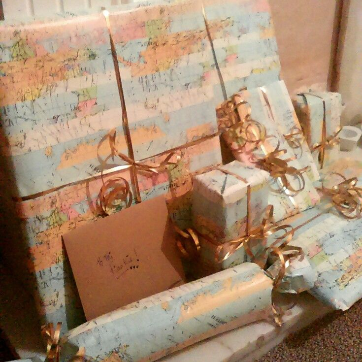 Gorgeous paperchase Map gift wrapping paper and bronze curling     Gorgeous paperchase Map gift wrapping paper and bronze curling ribbon for  my Map enthusiast Mr s birthday