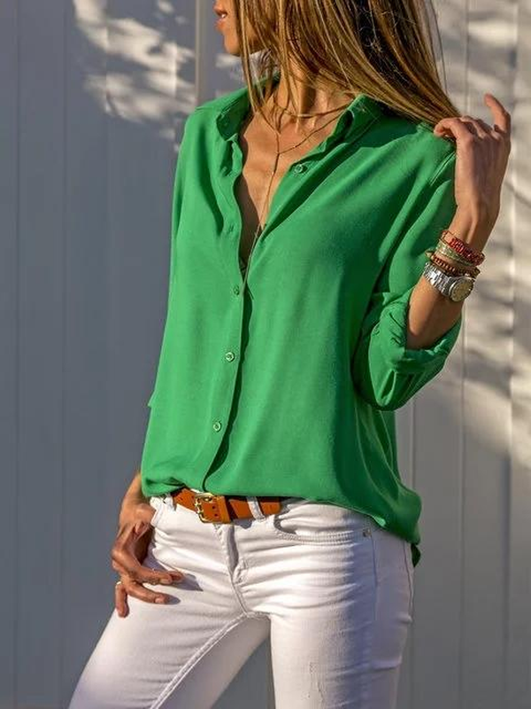 0441983b190 Chiffon Stand Collar Solid Plus Size Shirt
