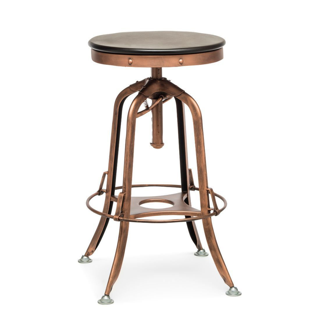 Industrial Adjustable Swivel Bar Stool With Wood Top Antique Copper In 2020 Swivel Bar Stools Bar Stools Stool