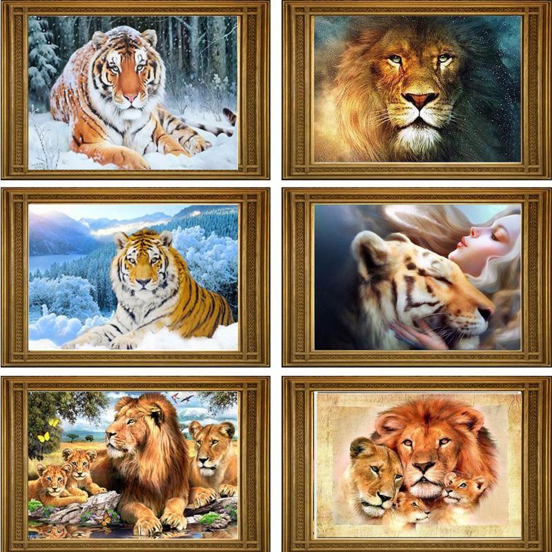 Diy 5d Mosaic Lion And Tiger Diamond Painting Etc Essentials