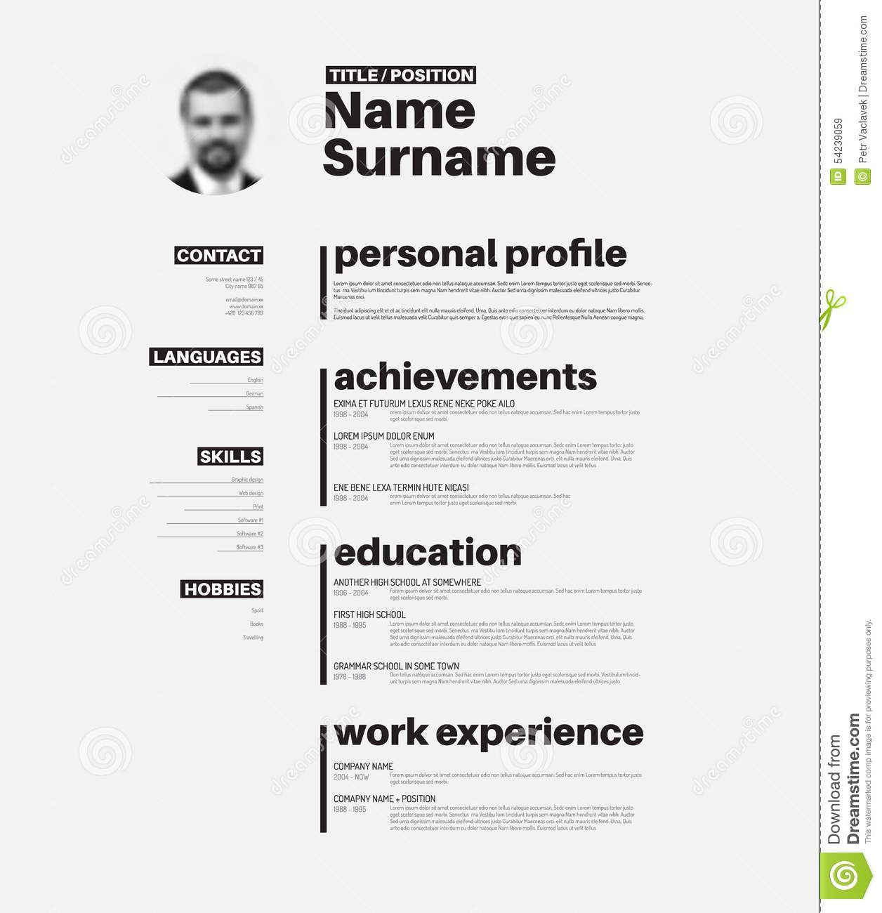 Plantilla Del Cv/del Curriculum Vitae Con Tipografía Agradable .  Modelos De Resume