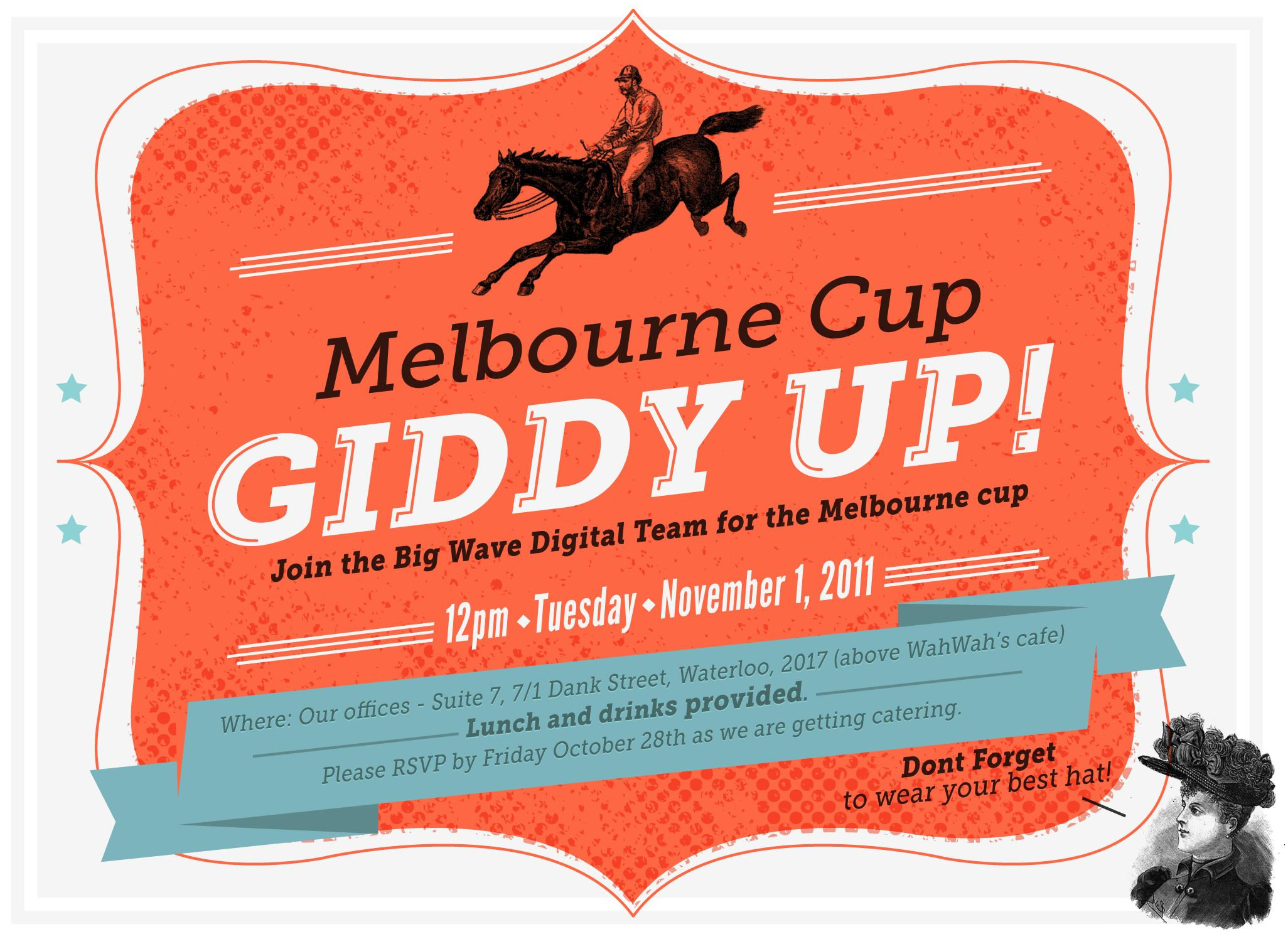 Melbourne cup Giddy Up! invite | My Work | Pinterest | Melbourne ...