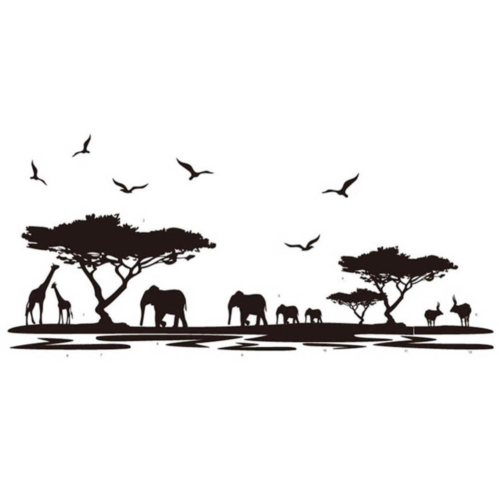 African Animals Wall Sticker Mural Home Decal Removable Art Vinyl - Wall decals animalsafrican savannah wall sticker decoration great trees with