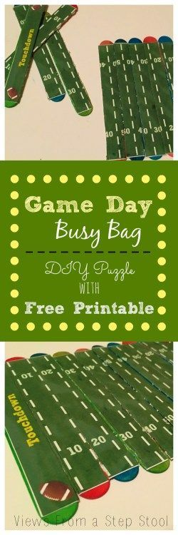 Game Day Busy Bag: DIY Football Field Puzzle with FREE Printable #patriotsdaycraftsforkids