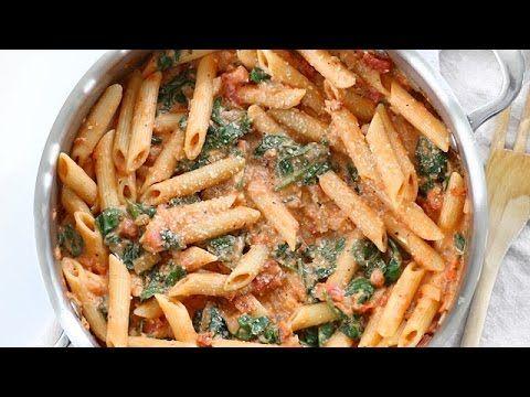 Creamy Tomato And Spinach Pasta Youtube Healthy Pasta Recipes