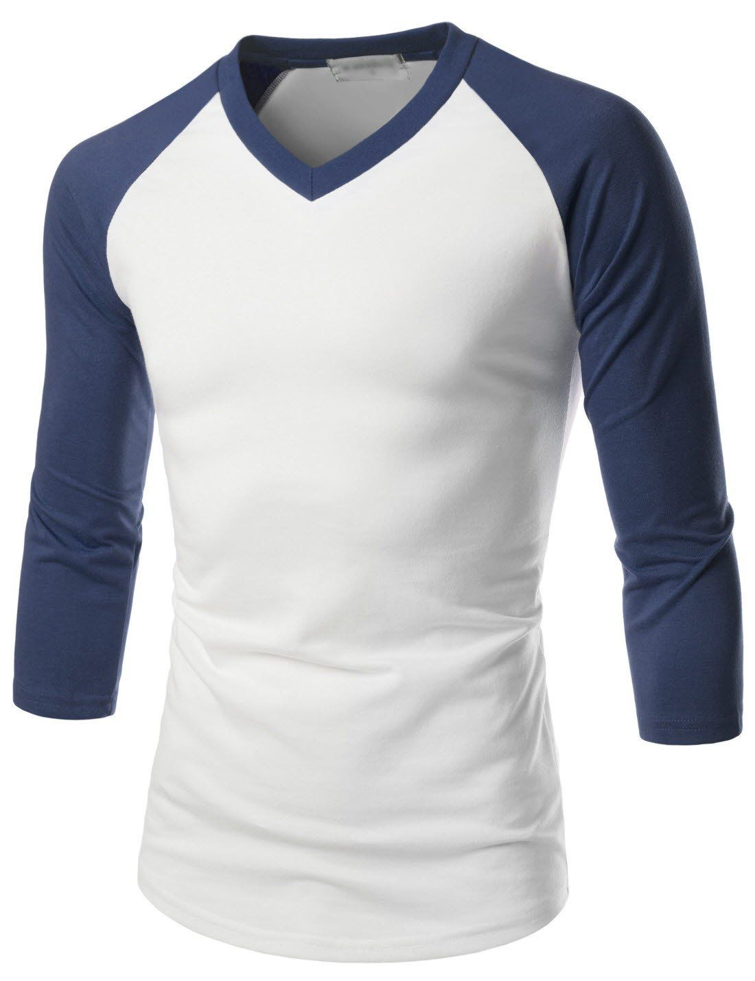 Two Color Dry Fit Mens Long Sleeve 3 4 Length Shirts 3 4