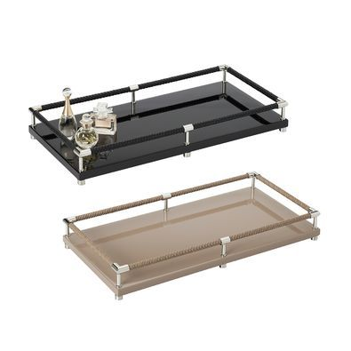 Riviere Vanity decorative trays with leather handles