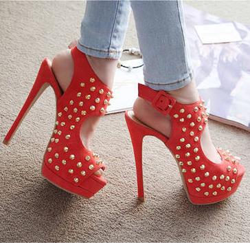 Free Shipping 2013 New Women's Fashion Gladiator Rivets Peep Toe 14CM Stiletto High Heels Sandals Ladies Platform Shoes-ZZKKO high heels -  bridal -  #platform