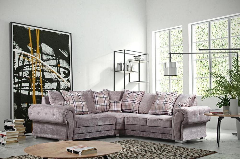 Verona Fabric Corner Sofa Group Large 5 Seater Grey Mink 3 2 Suite Couch Settee Fabric Sofa Design Sofa Set Living Room Sets Furniture