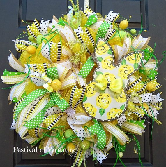 Spring Easter Deco Mesh Wreath Easter Front Door Wreath | easter ...