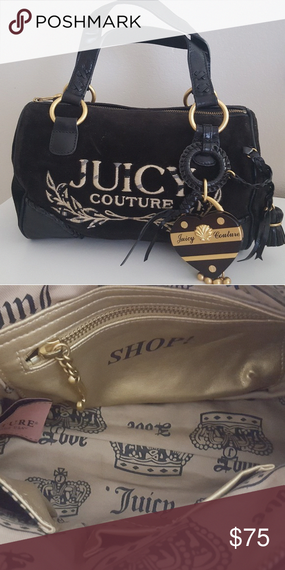 Nwot Juicy Couture Handbag Black Suede And Leather Inside One Zipper Pocket Two