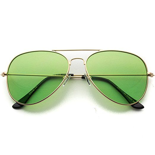 bb5bc15bcf Classic Aviator Style Metal Frame Sunglasses Colored Lens