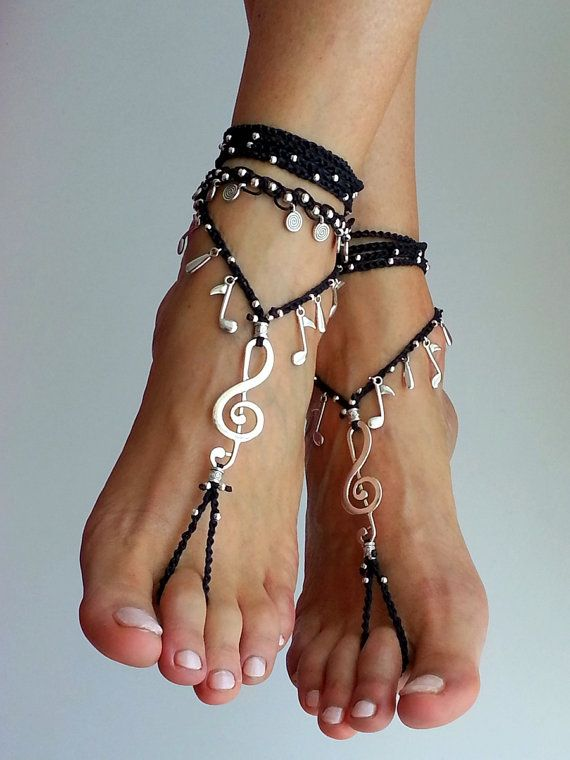 Music Barefoot sandals, Boho wrapped ankle, FOOT JEWELRY ...