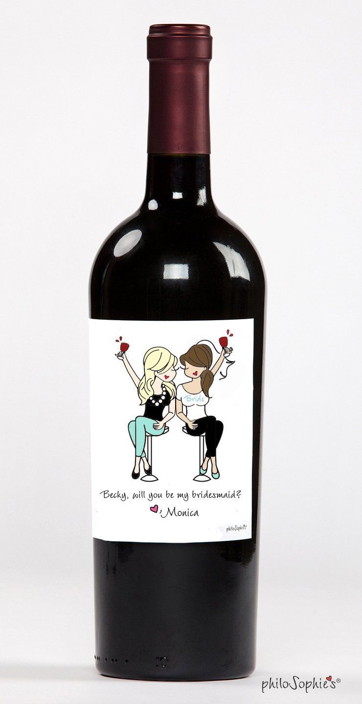 A special way to ask your bridal party ~ a personalized wine label made just for her. Customize skin tone, hair style/color, name/message and dress color. Label measures 4