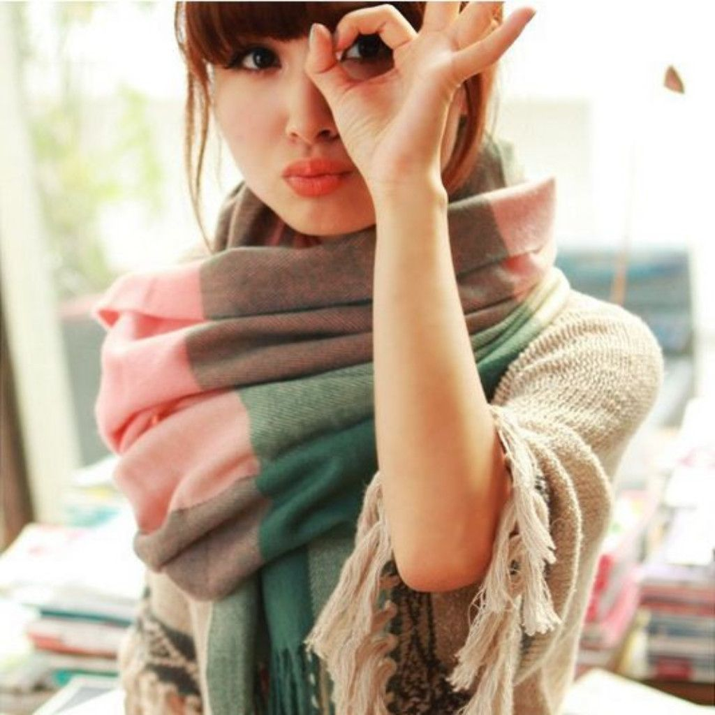 Pink Thick Plaid Print Cotton Scarf