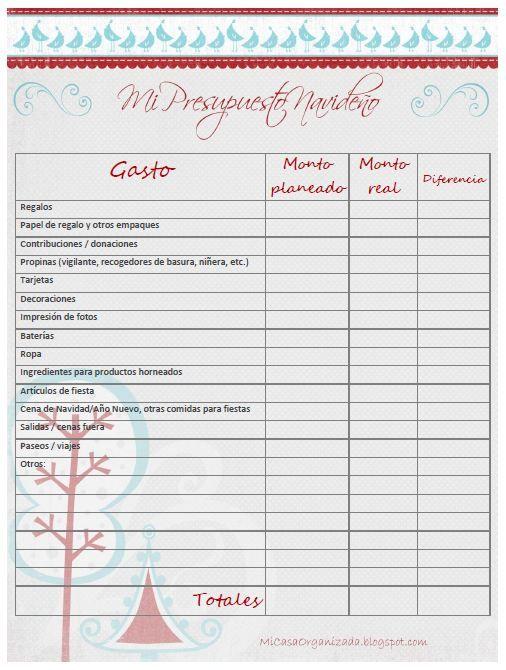 Imprimible: Planifica tu presupuesto navideño   Mi Casa Organizada ...