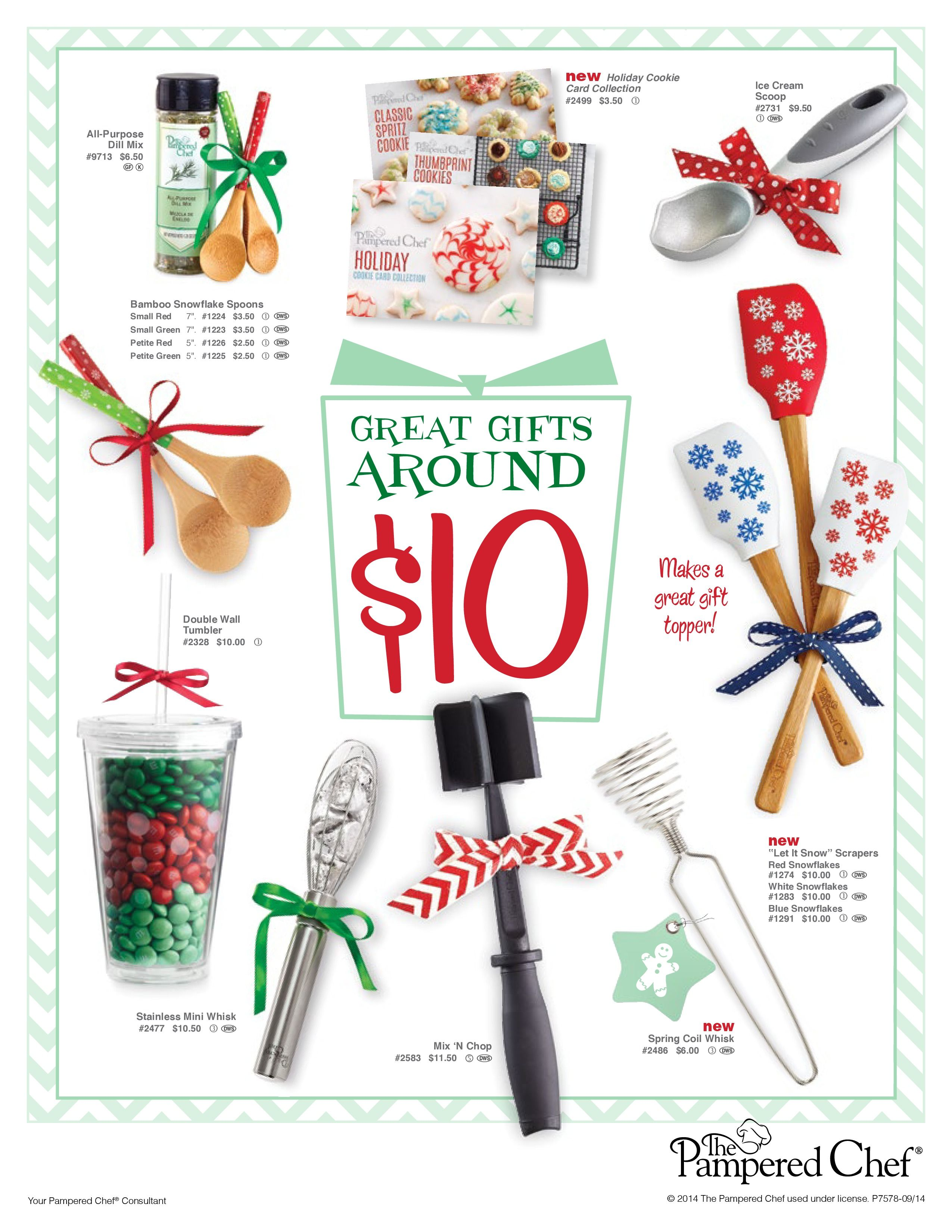 Great gifts around $10. Visit my website to place your order! http://new.pamperedchef.com/pws/lauriedickan