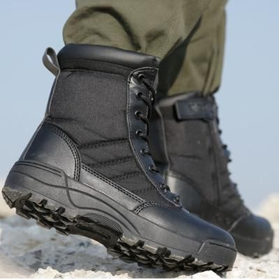 0600932a39d4 Men Tactical Military Army Boots Breathable Leather Mesh High Top Casual  Desert Work Shoes Mens SWAT
