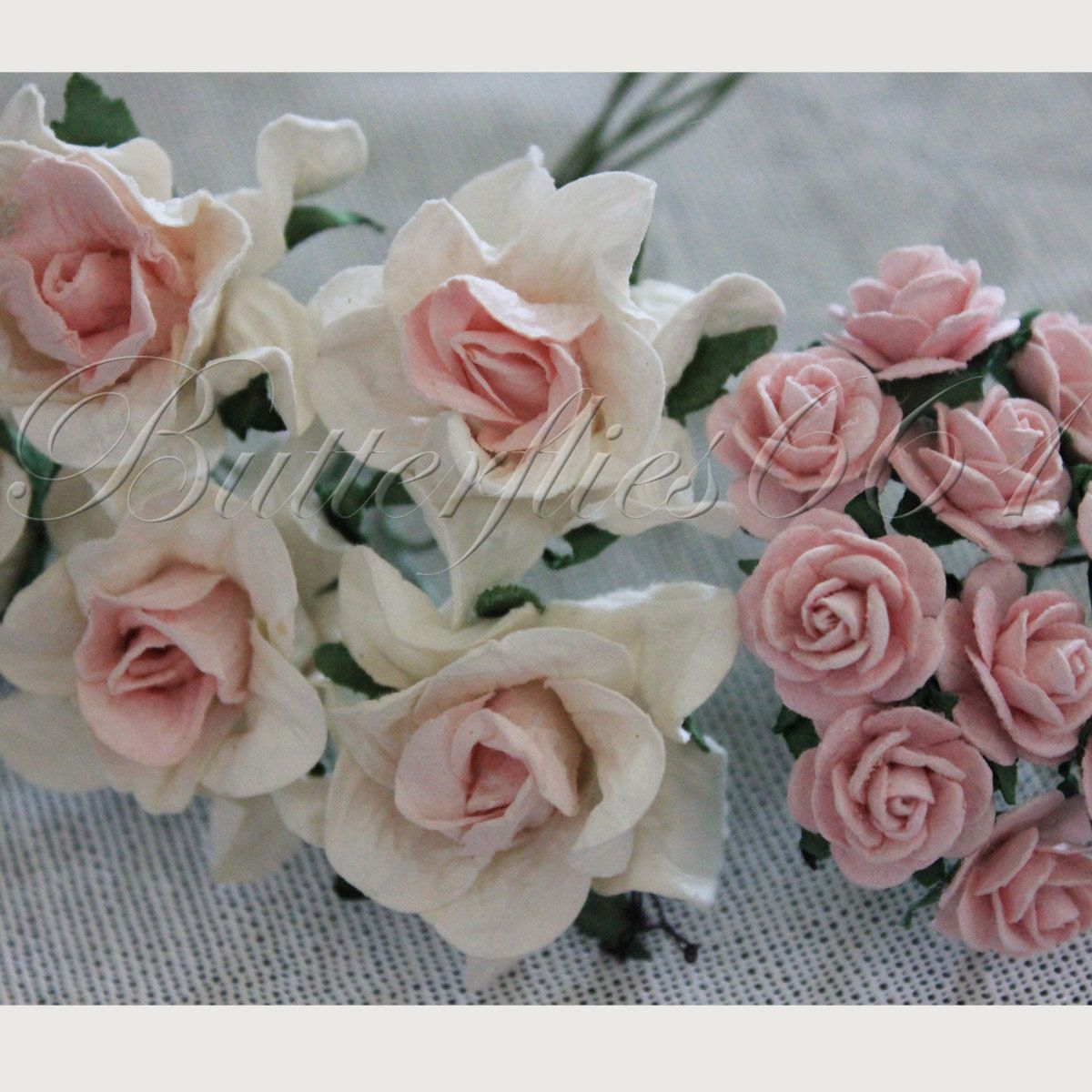 15 Handmade Mulberry Paper Flowers Mixed Sizes Of Pink Tone Wedding